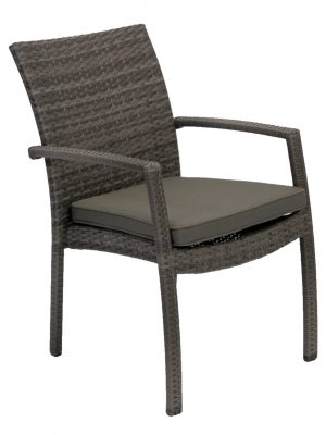 Villa Wicker Outdoor Dining Arm Chair Granite Grey Outdoor Furniture