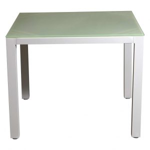 Aluminium Glass Top Tables White