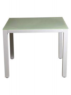 Aluminium Glass Top Tables White