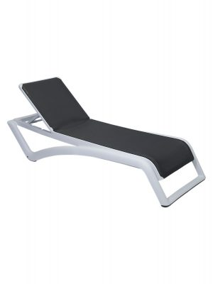 Sky Sunlounger Grey White Resin Pool Lounge