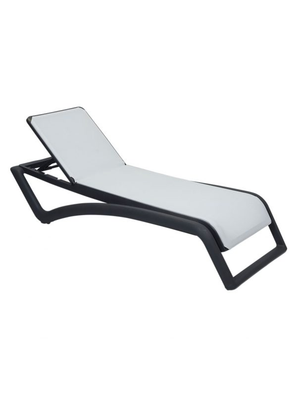 Sky Sunlounger Grey White Commercial outdoor lounge