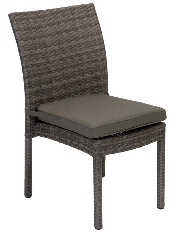 Villa Armless Wicker Outdoor Dining Chair Granite