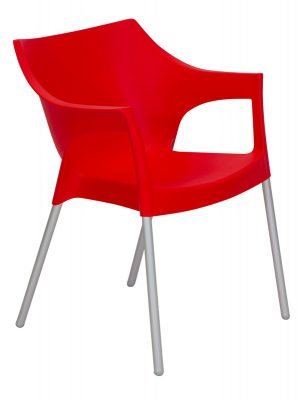Pole Outdoor Resin Chair Red commercial chairs