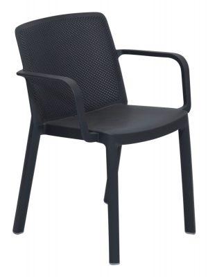 Fresh Resin Armchair Grey Outdoor Dining Commercial grade